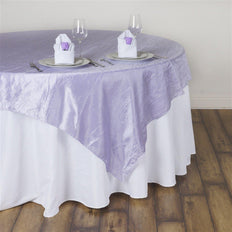 "60""x60"" Square Lavender Crinkle Crushed Taffeta Table Overlay"