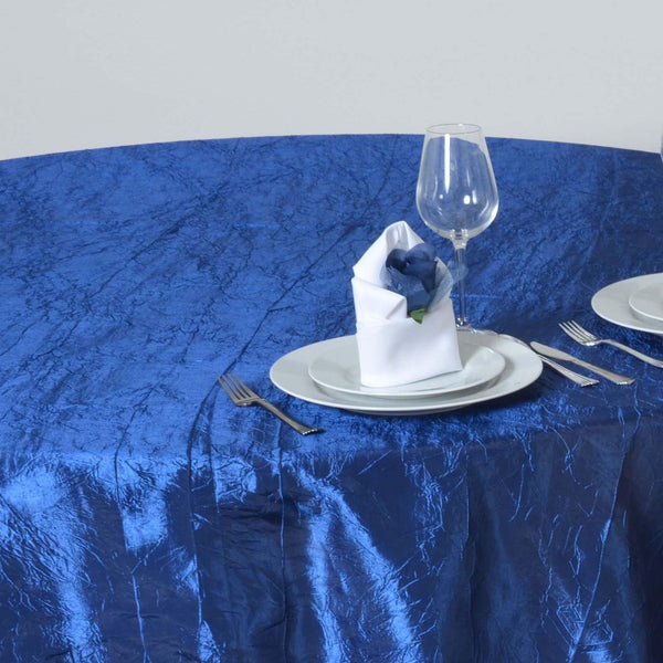 "60""x60"" Square Navy Blue Crinkle Crushed Taffeta Table Overlay - Clearance SALE"