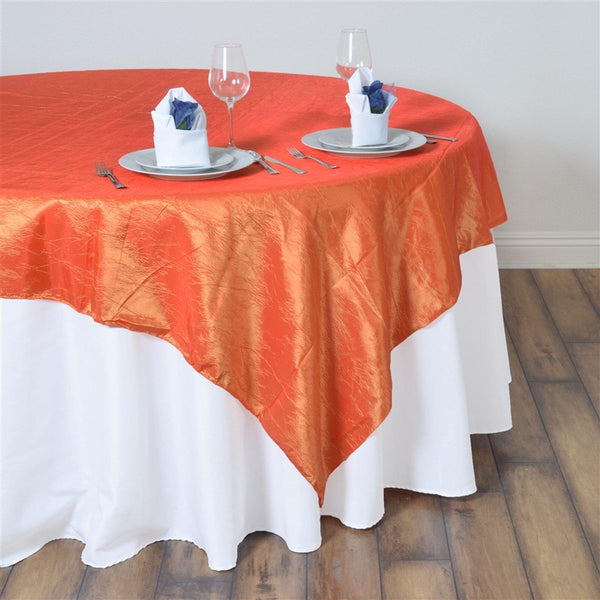"60""x60"" Square Orange Crinkle Crushed Taffeta Table Overlay - Clearance SALE"