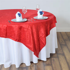 "60""x60"" Square Red Crinkle Crushed Taffeta Table Overlay"