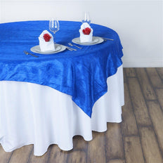 "60""x60"" Square Royal Blue Crinkle Crushed Taffeta Table Overlay"
