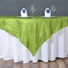 "60""x60"" Square Tea Green Crinkle Crushed Taffeta Table Overlay"