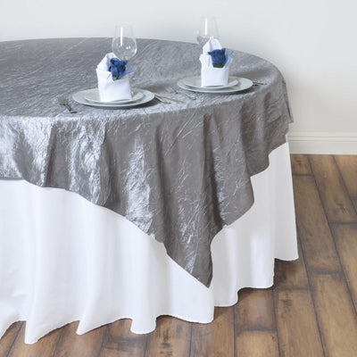 "60""x60"" Square Silver Crinkle Crushed Taffeta Table Overlay"