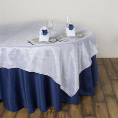"60""x60"" Square White Crinkle Crushed Taffeta Table Overlay"