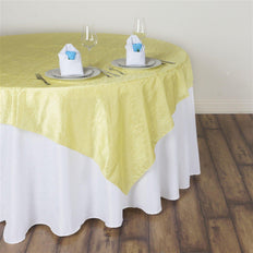 "60""x60"" Square Yellow Crinkle Crushed Taffeta Table Overlay"