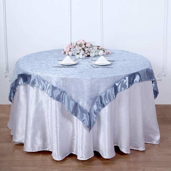 "60""x60"" Dusty Blue Satin Edge Embroidered Sheer Organza Square Table Overlay"