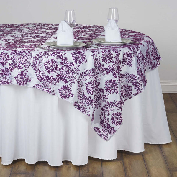 "60""x60"" Eggplant Damask Flocking Square Overlay"