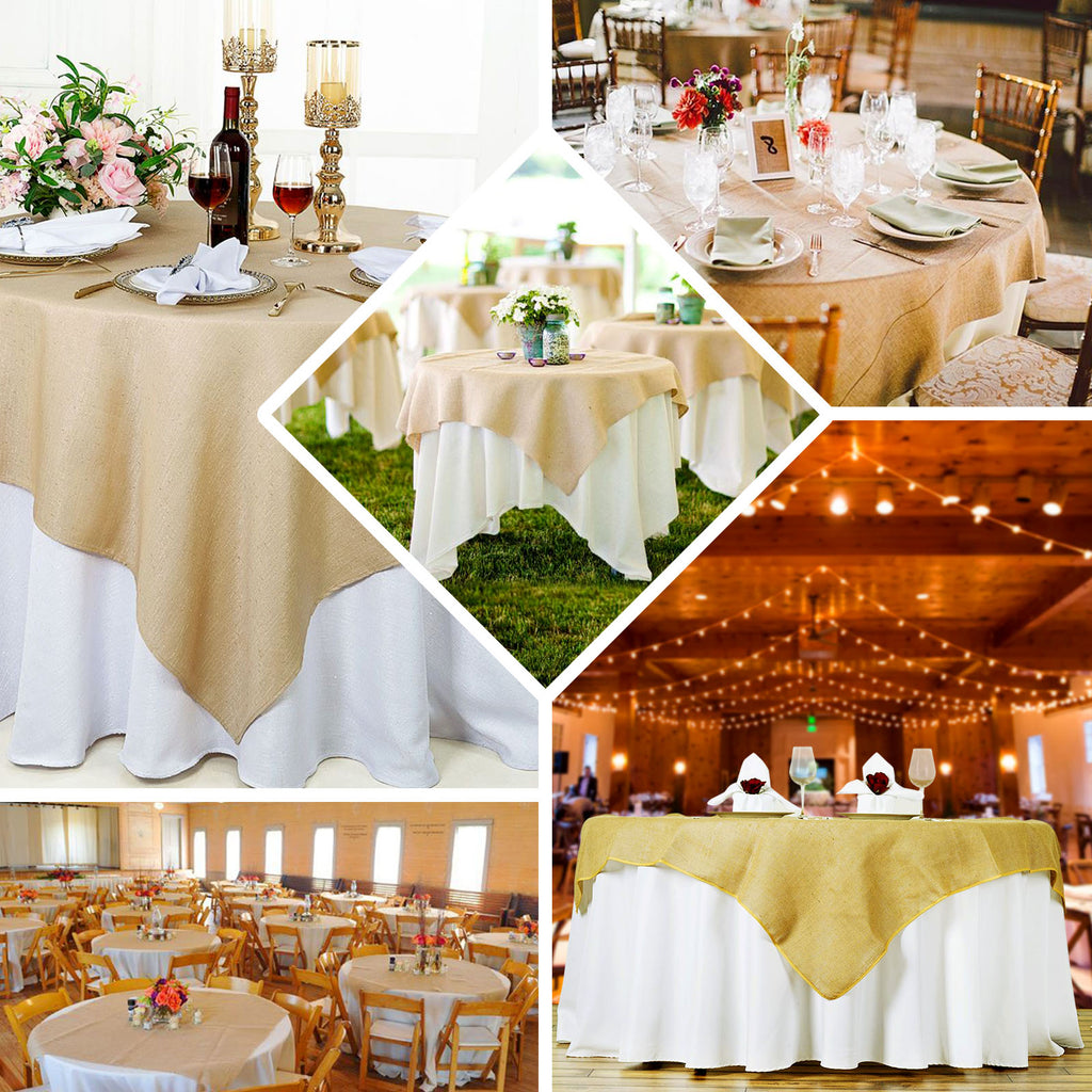 60 Natural Tone Authentic Rustic Burlap Square Overlay Tableclothsfactory
