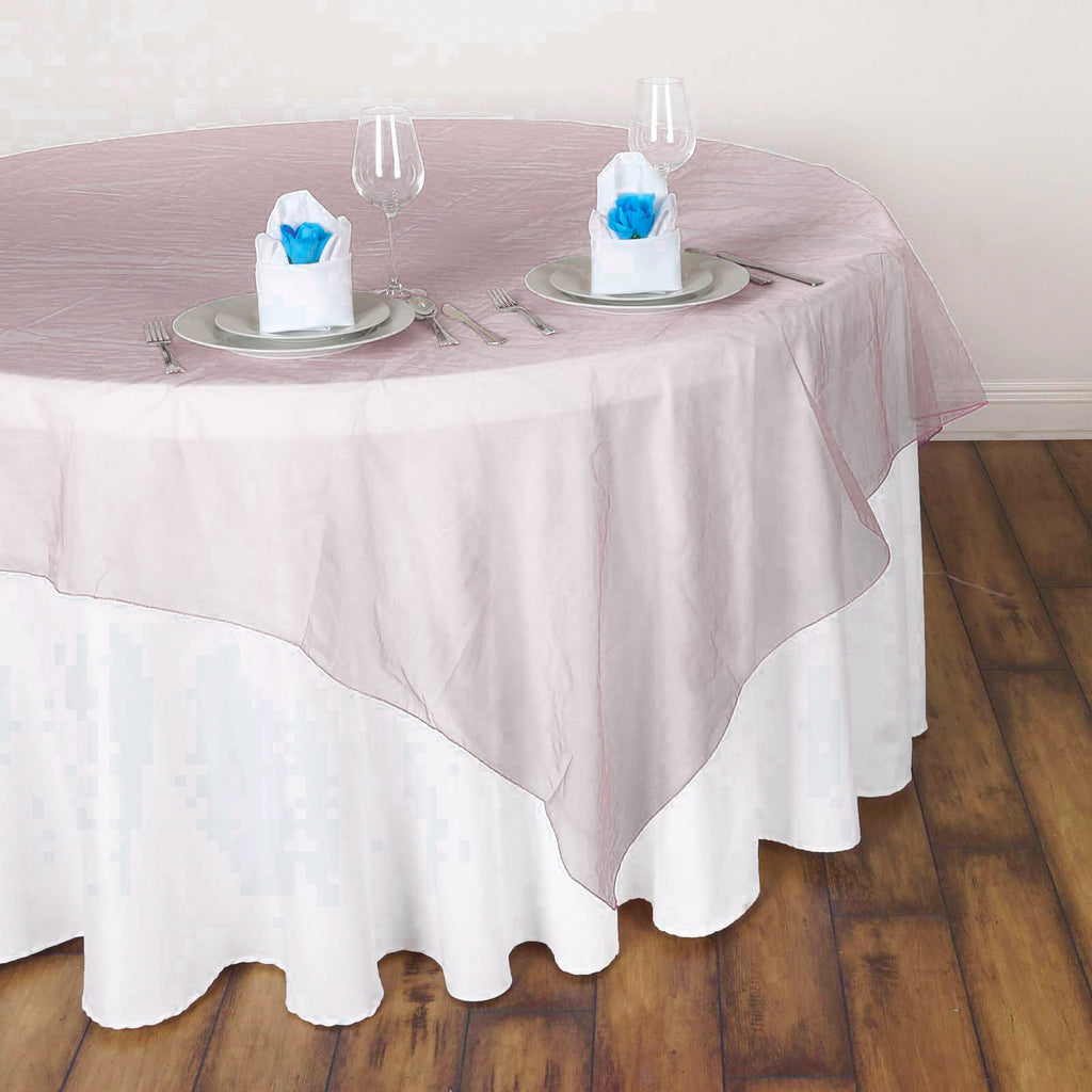 60 Blush Rose Gold Square Sheer Organza Table Overlays Tableclothsfactory