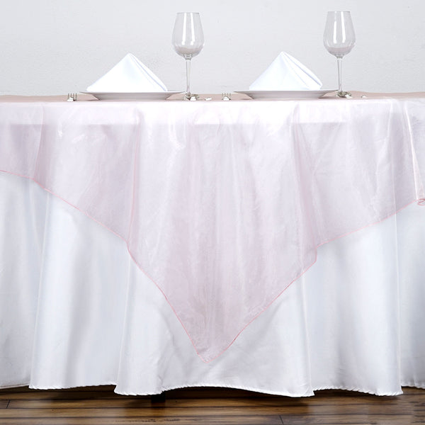 60'' | Blush / Rose Gold Square Sheer Organza Table Overlays