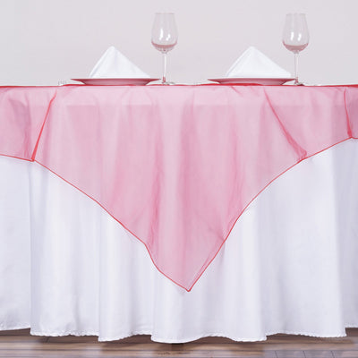 60'' | Wine Square Sheer Organza Table Overlays