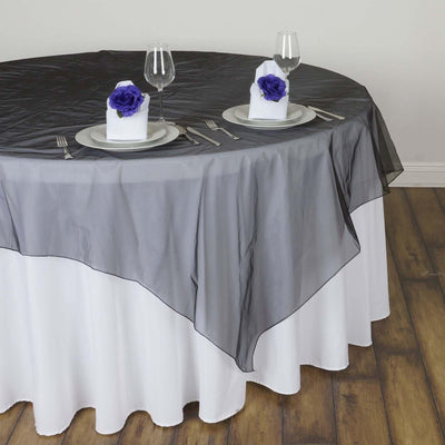 60'' | Black Square Sheer Organza Table Overlays