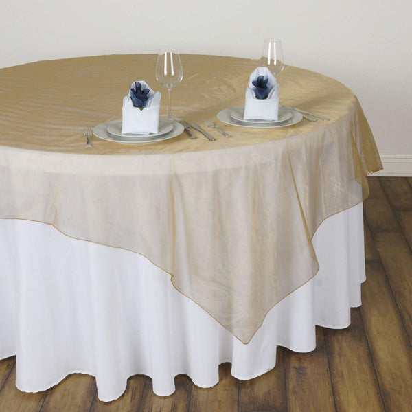 60 Gold Square Sheer Organza Table Overlays Tableclothsfactory