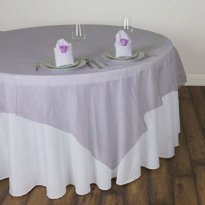 60'' | Lavender Square Sheer Organza Table Overlays