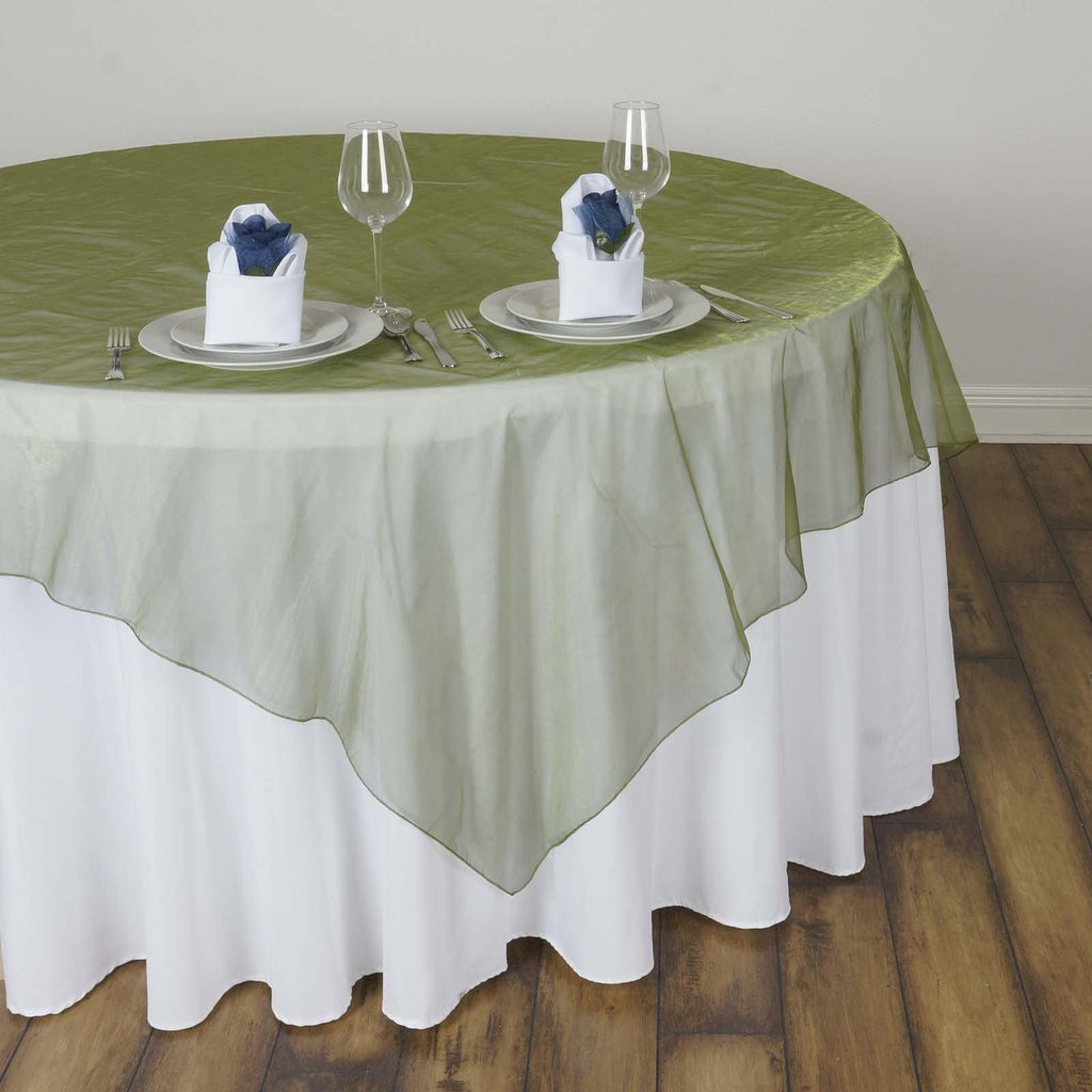 60 Quot X60 Quot Moss Green Sheer Organza Table Square Overlay