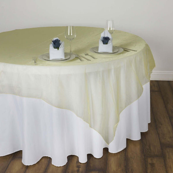 60'' | Yellow Square Sheer Organza Table Overlays