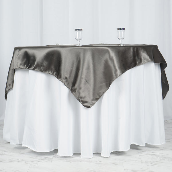 "60""x 60"" Charcoal Gray Seamless Satin Square Tablecloth Overlay"