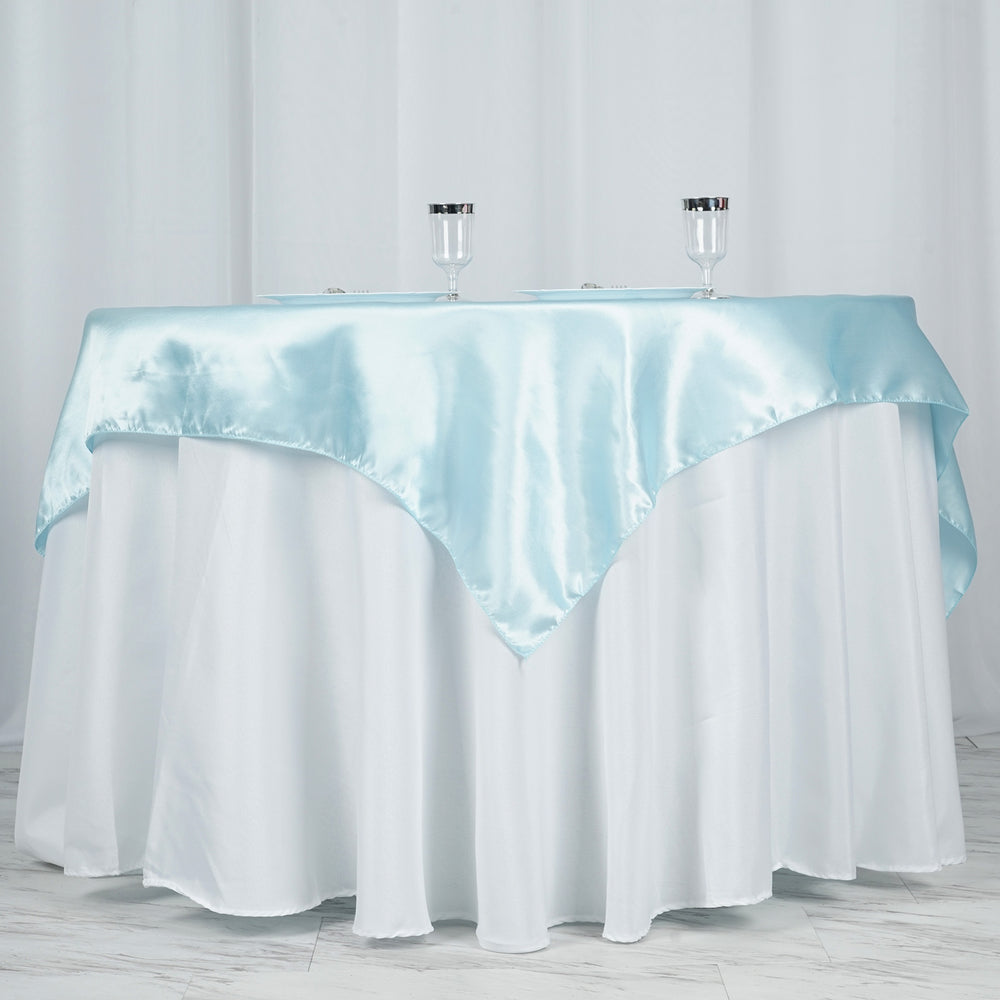 60 Quot Light Blue Seamless Satin Square Tablecloth Overlay