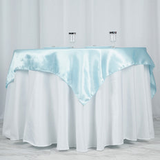 "60"" SATIN Square Overlay For Wedding Catering Party Table Decorations - LIGHT BLUE"
