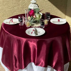 "60"" Satin Square Overlay For Wedding Catering Party Table Decorations - Burgundy"