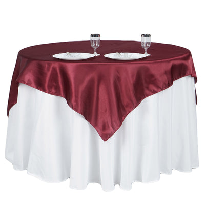 "60""x 60"" Burgundy Seamless Satin Square Tablecloth Overlay"