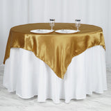 "60""x 60"" Gold Seamless Satin Square Tablecloth Overlay"