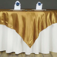 "60"" SATIN Square Overlay For Wedding Catering Party Table Decorations - GOLD"