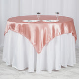 "60""x 60"" Dusty Rose Seamless Satin Square Tablecloth Overlay"