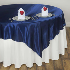"60"" Satin Square Overlay For Wedding Catering Party Table Decorations - Navy Blue"