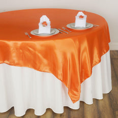 "60"" Satin Square Overlay For Wedding Catering Party Table Decorations - Orange"