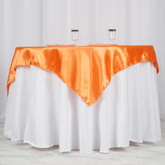 "60""x 60"" Orange Seamless Satin Square Tablecloth Overlay"