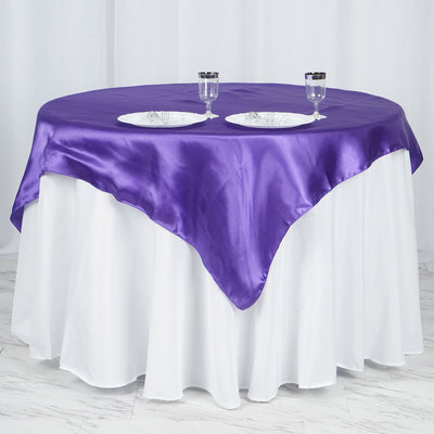"60""x 60"" Purple Seamless Satin Square Tablecloth Overlay"