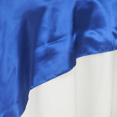 "60"" Satin Square Overlay For Wedding Catering Party Table Decorations - Royal Blue"