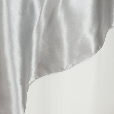 "60"" Satin Square Overlay For Wedding Catering Party Table Decorations - Silver"