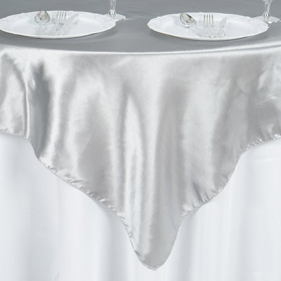 "60""x 60"" Silver Seamless Satin Square Tablecloth Overlay"