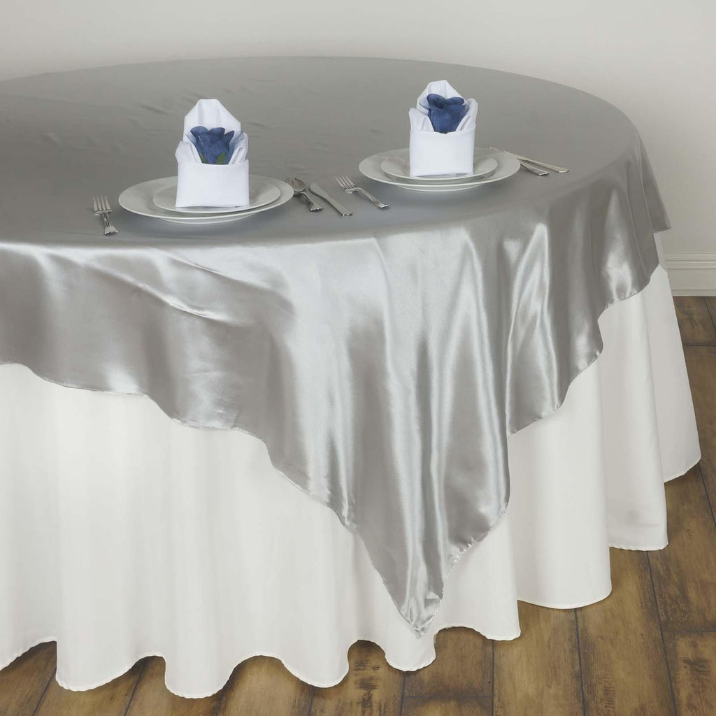 60 Quot Silver Seamless Satin Square Tablecloth Overlay