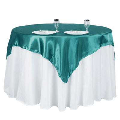 "60""x 60"" Turquoise Seamless Satin Square Tablecloth Overlay"
