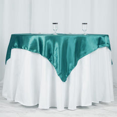 "60"" Satin Square Overlay For Wedding Catering Party Table Decorations - Turquoise"