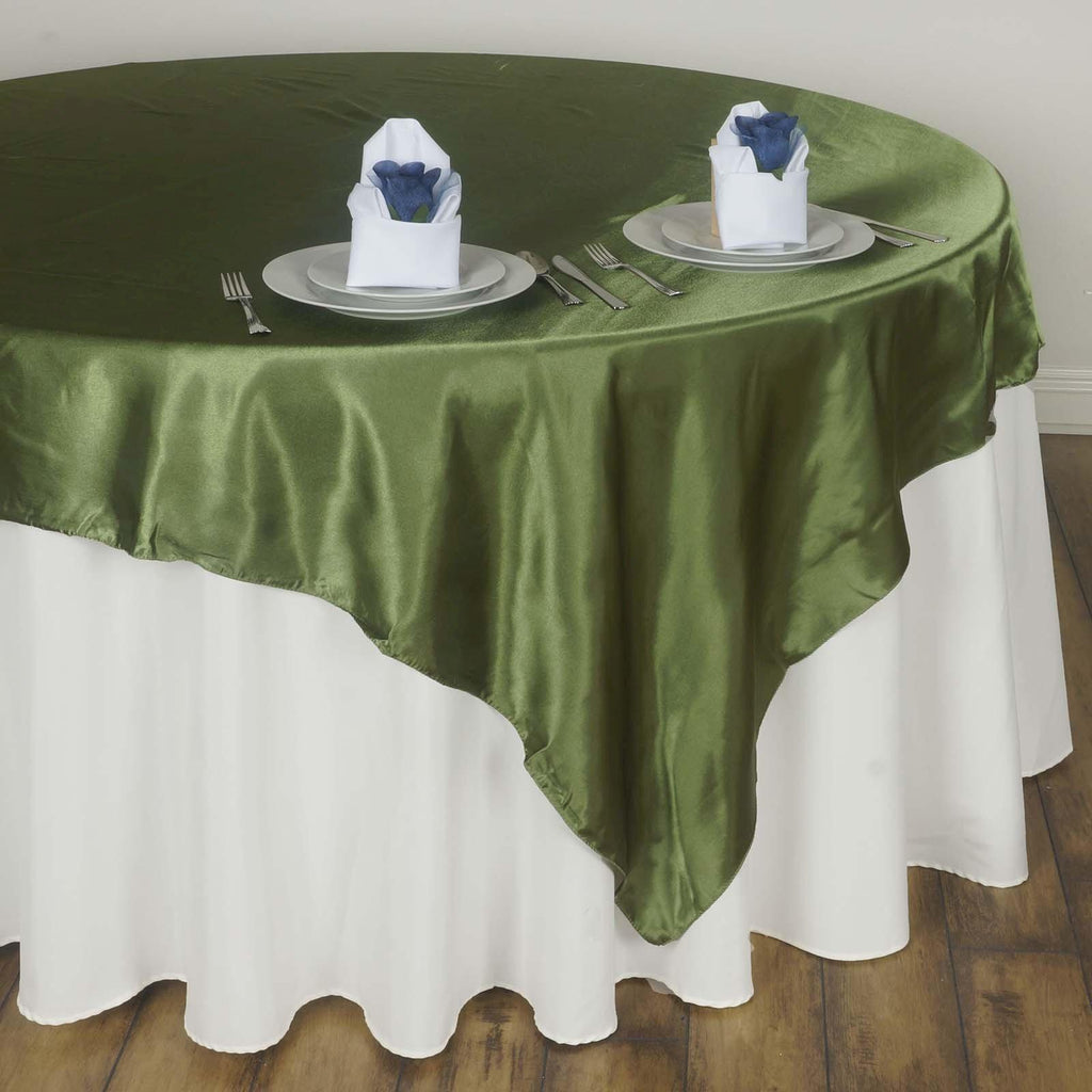 60 Quot X 60 Quot Moss Green Seamless Satin Square Tablecloth