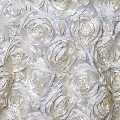 "72""x72"" IVORY Wholesale Grandiose Rosette 3D Satin Overlay For Wedding Party Event Decoration"