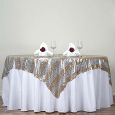 "72"" Premium Stripe Sequin Square Overlay For Wedding Catering Party Table Decorations - Gold/Silver"
