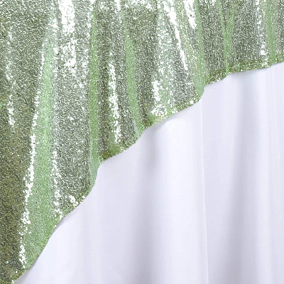 "72"" Premium Stripe Sequin Square Overlay For Wedding Catering Party Table Decorations - Tea Green"