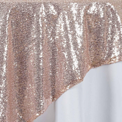 "72"" Premium Stripe Sequin Square Overlay For Wedding Catering Party Table Decorations - Blush"