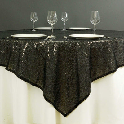 "72"" Premium Stripe Sequin Square Overlay For Wedding Catering Party Table Decorations - Black"