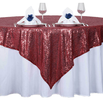 "72"" x 72"" Burgundy Sequin Square Overlay"