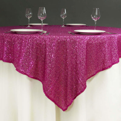 "72"" Premium Stripe Sequin Square Overlay For Wedding Catering Party Table Decorations - Fushia"