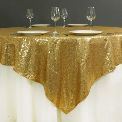 "72""x72"" Grand Duchess Sequin Table Overlays - Gold"