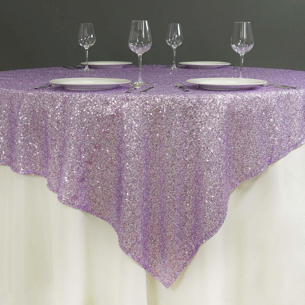 72 x 72 Lavender Sequin Square Overlay Tablecloths