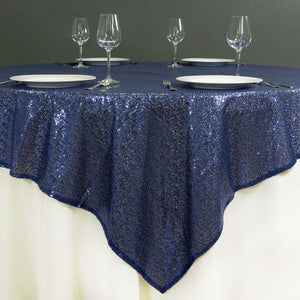"72"" Premium Stripe Sequin Square Overlay For Wedding Catering Party Table Decorations - Navy Blue"