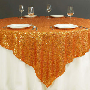 "72"" Premium Stripe Sequin Square Overlay For Wedding Catering Party Table Decorations - Orange"